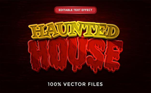 Efeito de texto editável em vetor premium de estilo casa assombrada de terror vector premium
