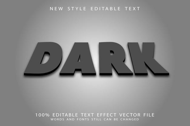 Efeito de texto editável escuro em relevo estilo moderno