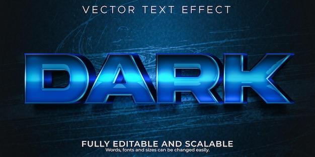 Efeito de texto editável escuro profundo, estilo de texto em espaço e azul