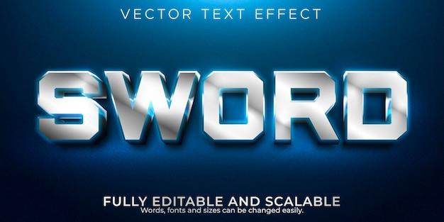 Efeito de texto editável espada, estilo de texto metálico e de jogo