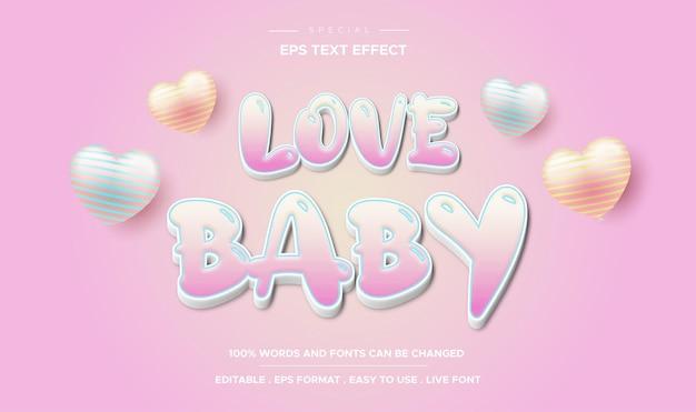 Efeito de texto editável estilo amor bebê
