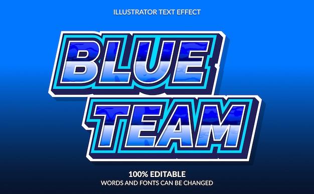 Efeito de texto editável, estilo azul do texto da equipe para esport
