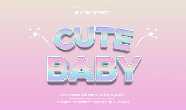 Efeito de texto editável estilo bebê fofo