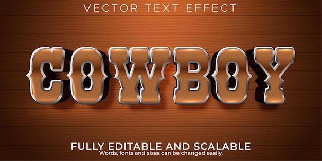 Efeito de texto editável, estilo cowboy ocidental