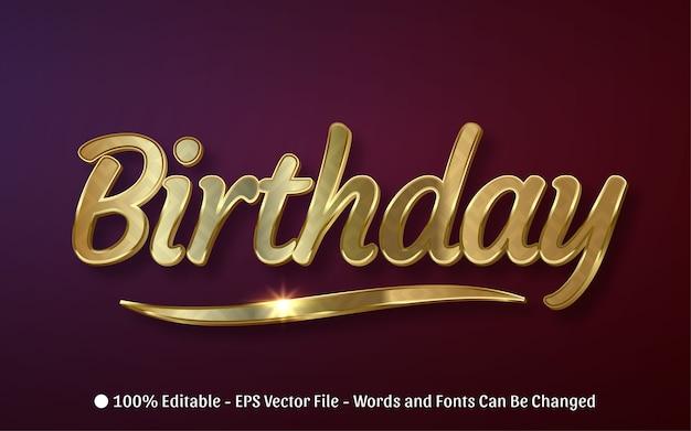 Efeito de texto editável estilo de aniversário