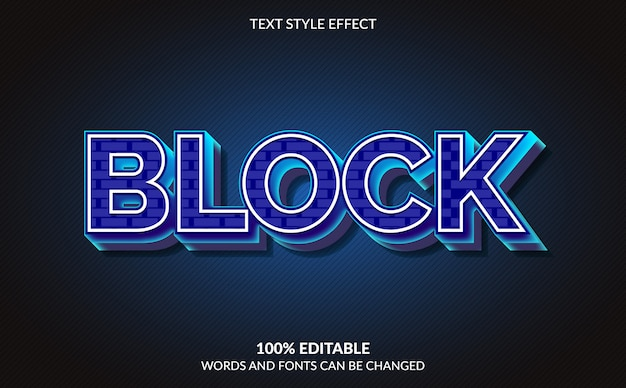 Efeito de texto editável, estilo de bloco de texto
