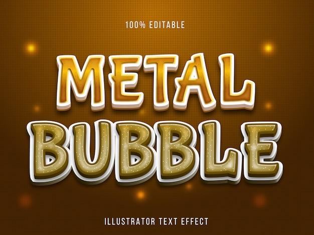 Efeito de texto editável - estilo de bolha marrom de metal