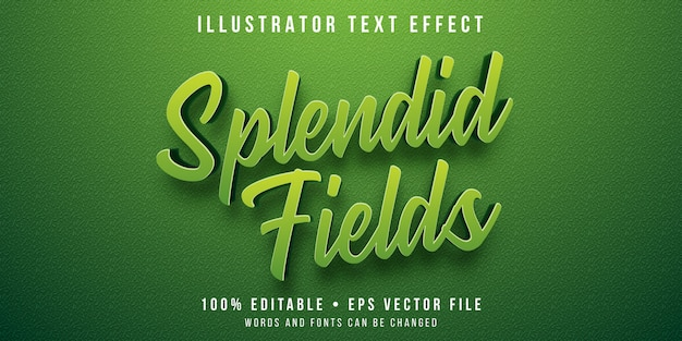 Efeito de texto editável - estilo de campo de grama