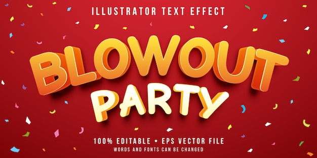 Efeito de texto editável - estilo de celebração de festa