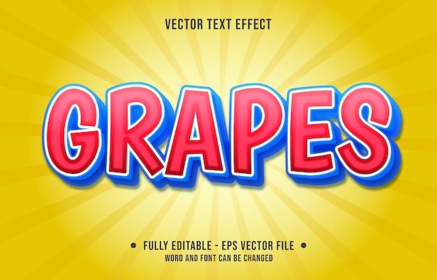 Efeito de texto editável - estilo de cor gradiente de uvas vermelhas e azuis