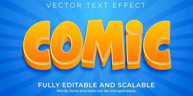 Efeito de texto editável, estilo de desenho animado e quadrinhos
