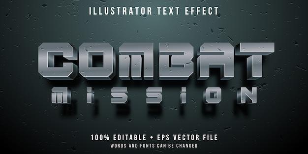 Efeito de texto editável - estilo de jogo de combate de guerra Vetor Premium