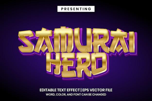Efeito de texto editável - estilo de jogo japonês de herói samurai