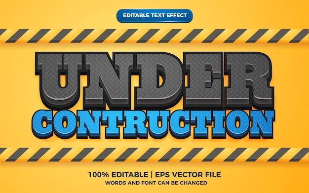 Efeito de texto editável - estilo de modelo 3d em construção