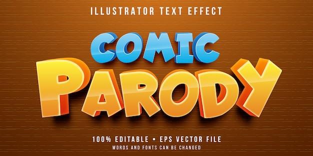 Efeito de texto editável - estilo de paródia dos desenhos animados