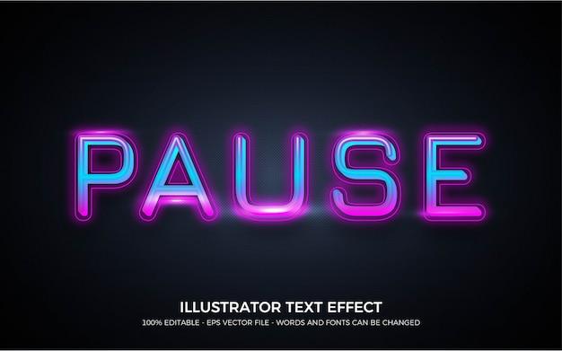 Efeito de texto editável, estilo de pausa