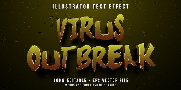 Efeito de texto editável - estilo de surto de vírus