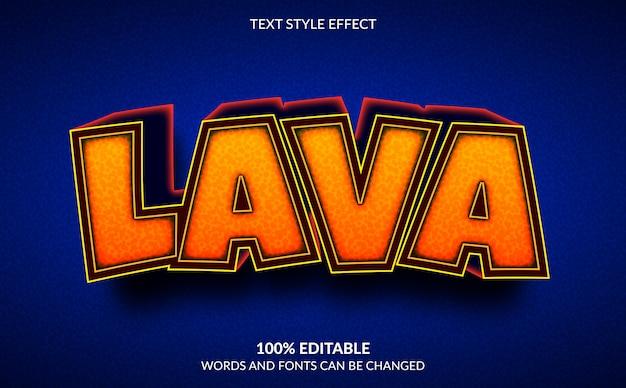 Efeito de texto editável, estilo de texto 3d lava dos desenhos animados