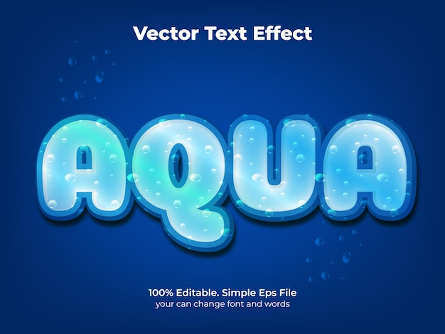 Efeito de texto editável estilo de texto aqua água