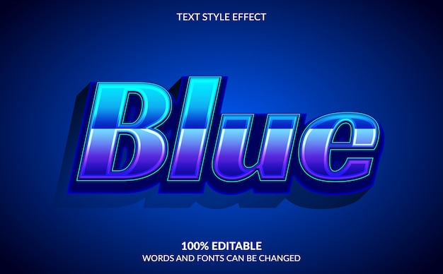 Efeito de texto editável, estilo de texto azul racing