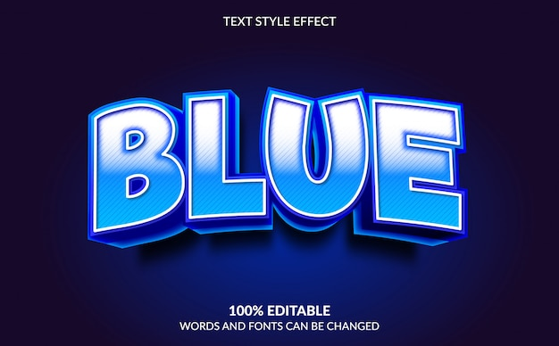 Efeito de texto editável, estilo de texto azul