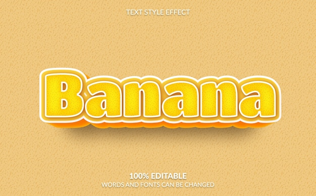 Efeito de texto editável estilo de texto banana