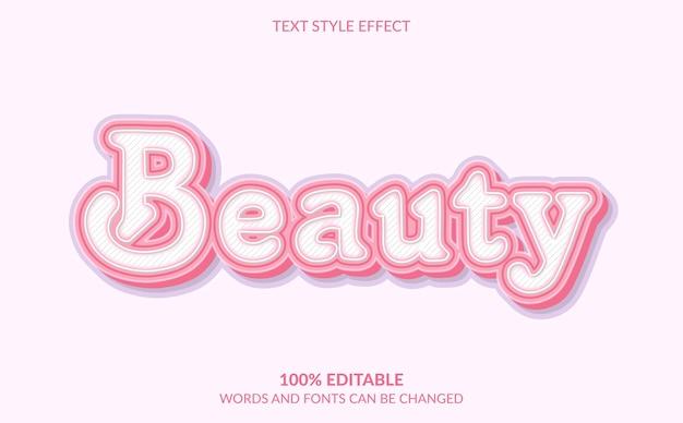 Efeito de texto editável, estilo de texto bonito de beleza