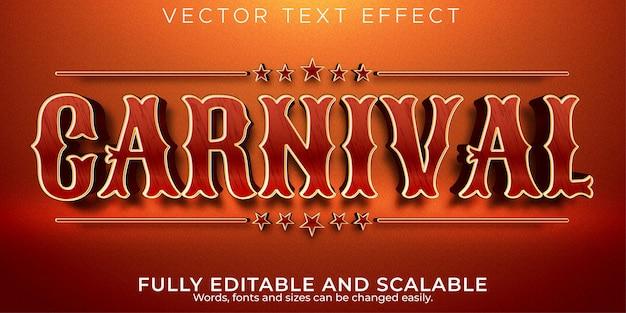 Efeito de texto editável, estilo de texto carnaval circo
