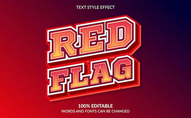 Efeito de texto editável, estilo de texto com bandeira vermelha