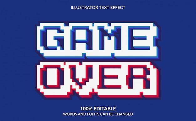Efeito de texto editável, estilo de texto com pixel em game over