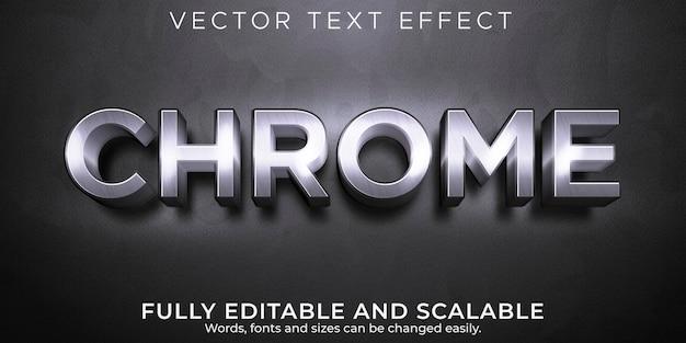 Efeito de texto editável, estilo de texto cromado metálico