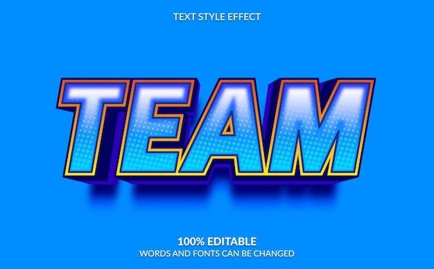 Efeito de texto editável, estilo de texto da equipe