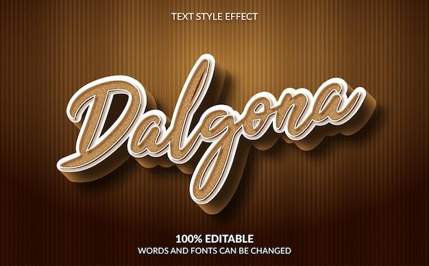 Efeito de texto editável, estilo de texto dalgona coffee