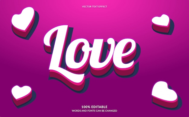 Efeito de texto editável, estilo de texto de amor rosa