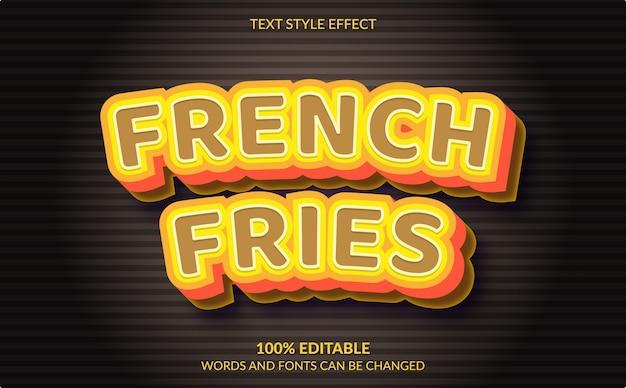 Efeito de texto editável, estilo de texto de batatas fritas
