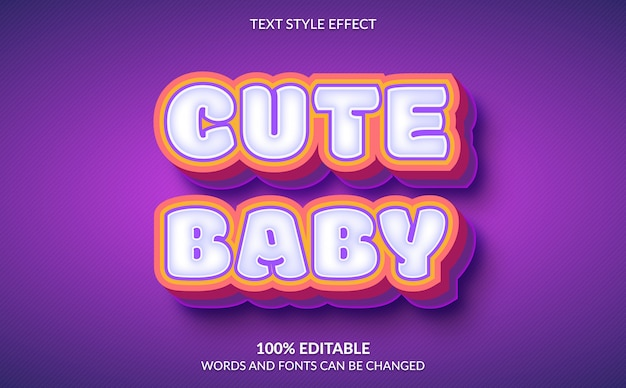 Efeito de texto editável, estilo de texto de bebê fofo