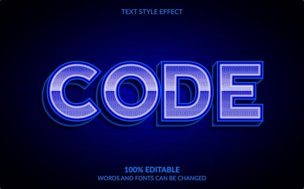 Efeito de texto editável, estilo de texto de código