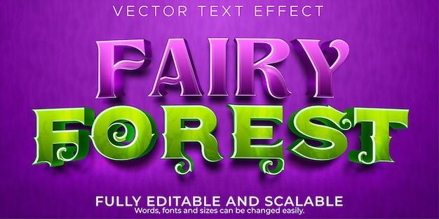 Efeito de texto editável, estilo de texto de conto de fadas Vetor Premium