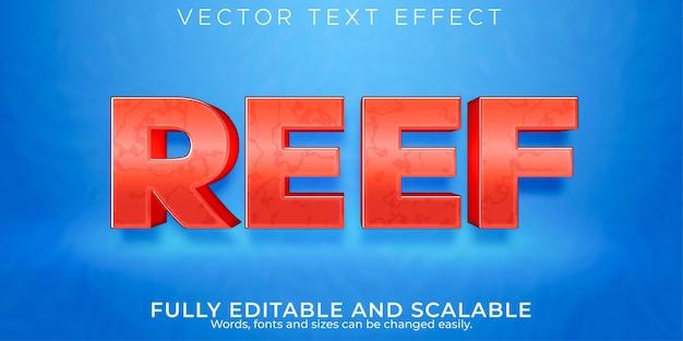Efeito de texto editável, estilo de texto de coral de recife