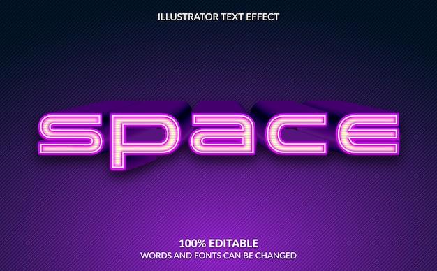 Efeito de texto editável, estilo de texto de espaço 3d
