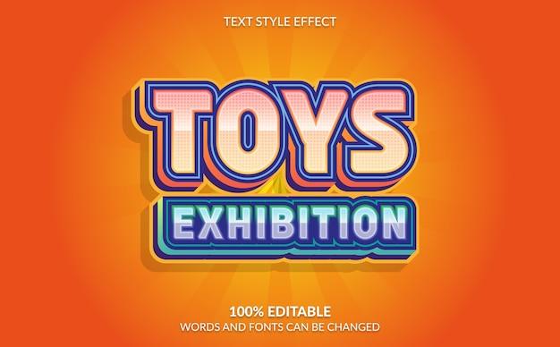 Efeito de texto editável, estilo de texto de exposição de brinquedos