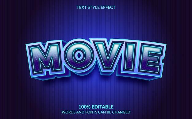 Efeito de texto editável, estilo de texto de filme
