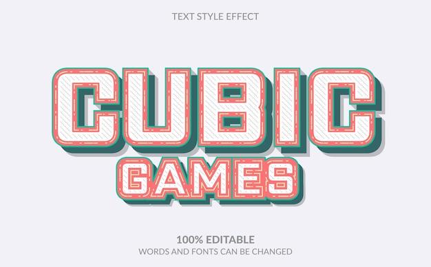 Efeito de texto editável, estilo de texto de jogos cúbicos