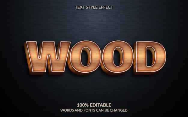 Efeito de texto editável, estilo de texto de madeira marrom