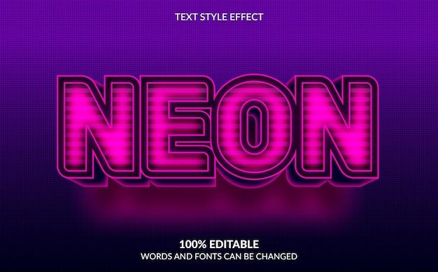 Efeito de texto editável, estilo de texto de néon rosa