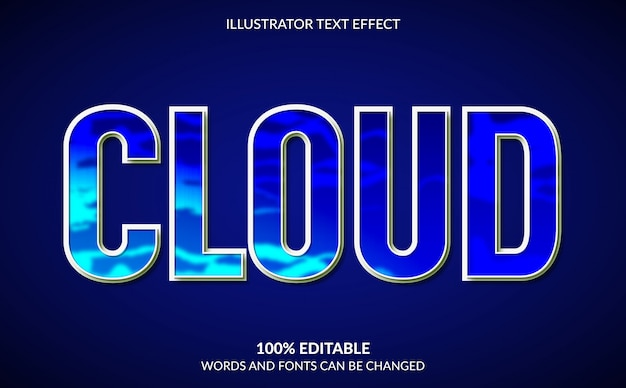 Efeito de texto editável, estilo de texto de nuvem azul