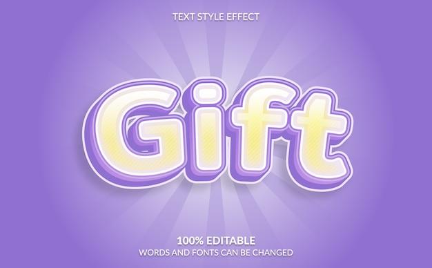 Efeito de texto editável, estilo de texto de presente