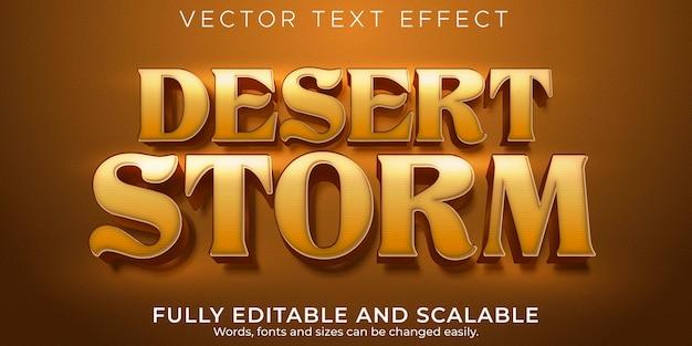 Efeito de texto editável, estilo de texto de tempestade no deserto