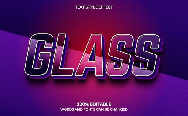 Efeito de texto editável, estilo de texto de vidro