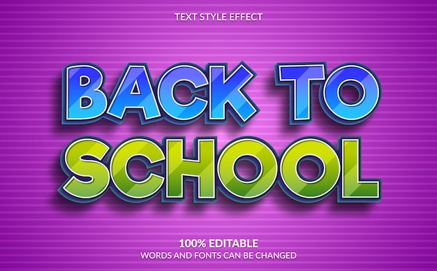 Efeito de texto editável, estilo de texto de volta às aulas